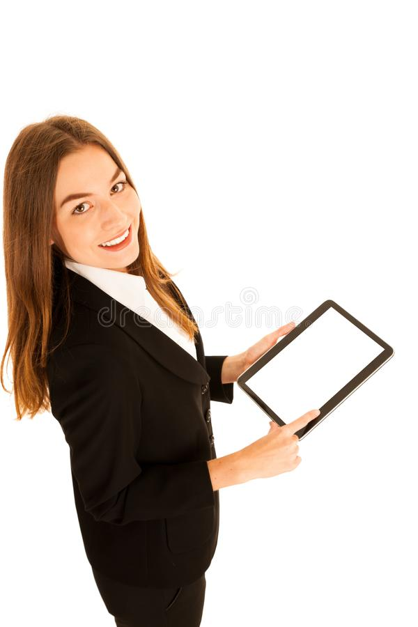 attractive young business woman showing presentation on her tablet stock photo