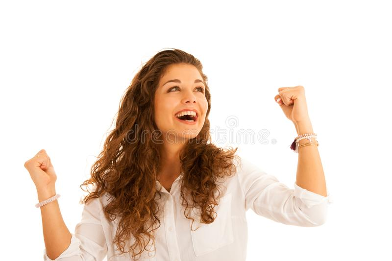 Attractive young business woman in white shirt gesture success w royalty free stock photography