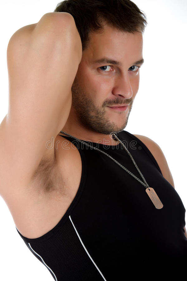 Attractive young caucasian man, biceps stock photo