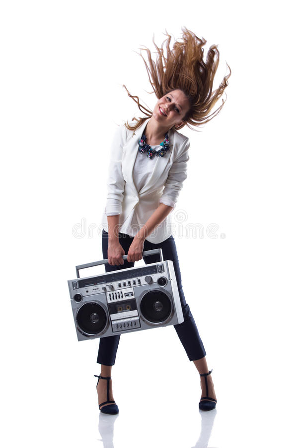 Attractive young cool hip hop dancer with boom box. Isolated royalty free stock photos