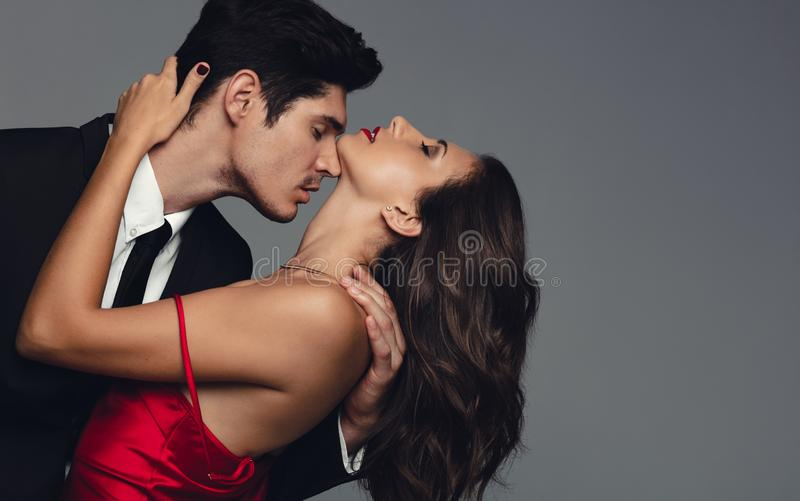 Couple sharing a romantic moment royalty free stock photography