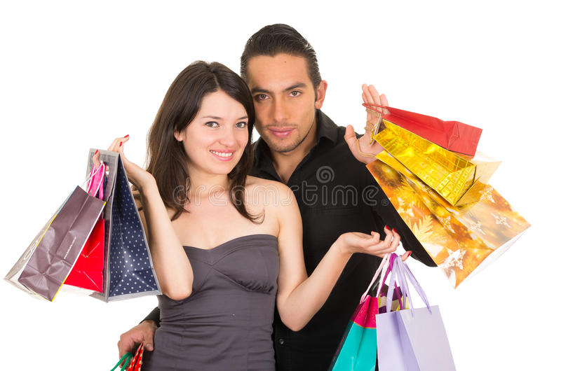 Attractive young couple shopping stock image