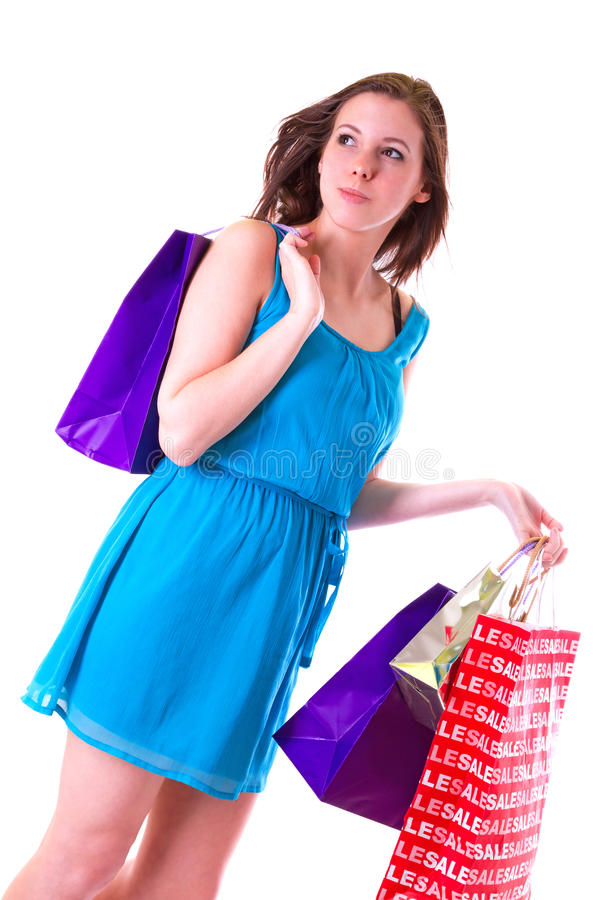 Download Attractive Young Female Holding Shopping Bags Stock Image - Image: 29346793