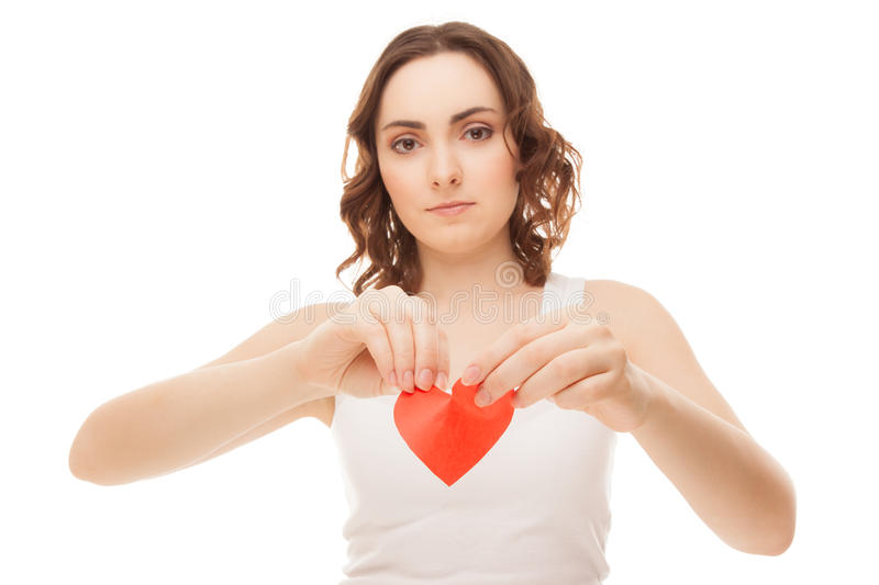 Download Attractive Young Girl Holding Broken Paper Red Valentine Heart Stock Image - Image of isolated, female: 28178447