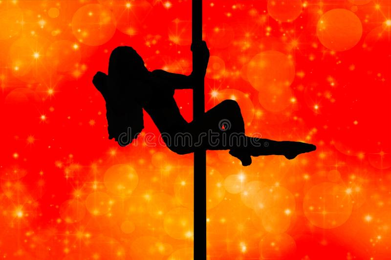 Attractive young girl silhouette hanging in a dancing pole in a pose isolated on a red background with lights royalty free illustration