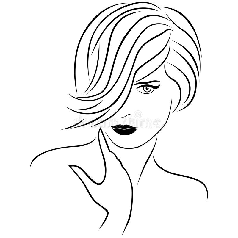 Attractive young lady with stylish short hairstyle vector illustration