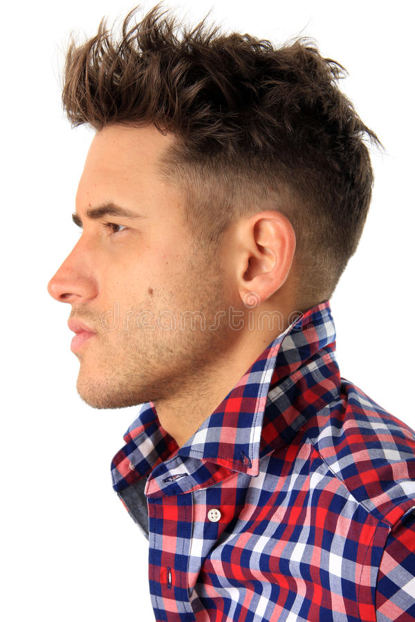 Attractive young man profile royalty free stock photo