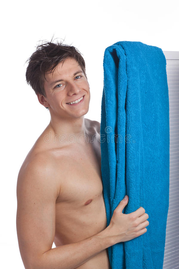 Attractive young man stripped to the waist stock image