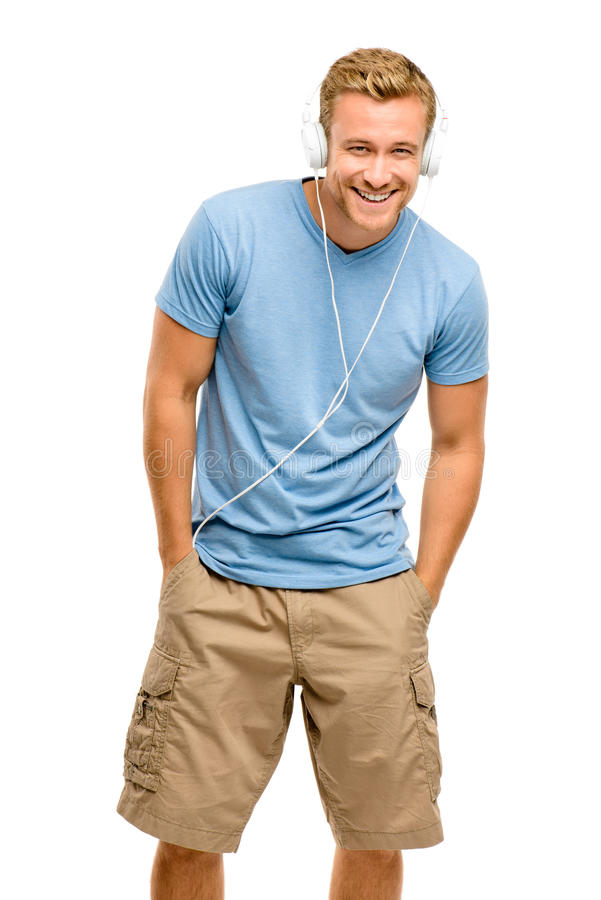 Download Attractive Young Man Wearing Headphones On White Background Stock Photo - Image of good, casual: 31047358