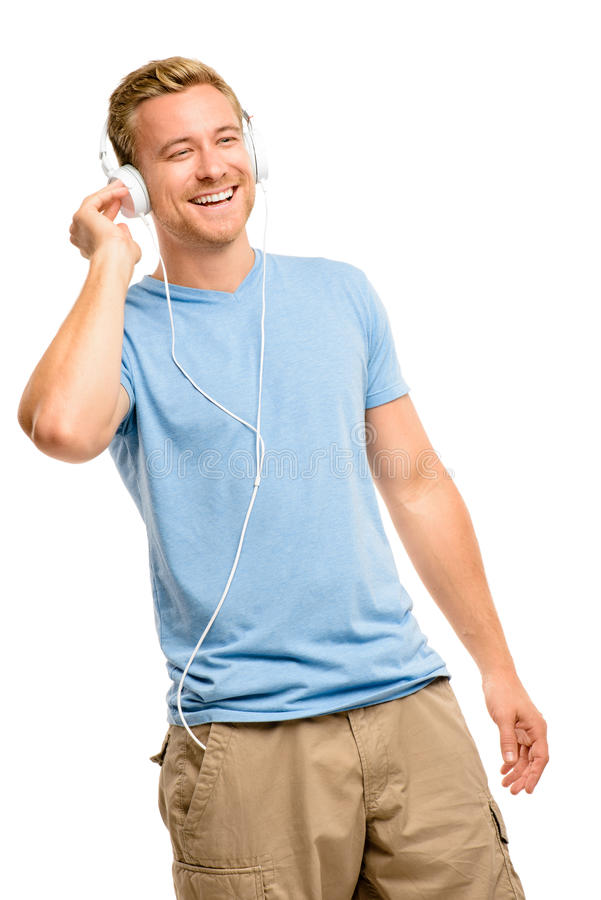 Attractive Young Man Wearing Headphones On White Background Stock Image