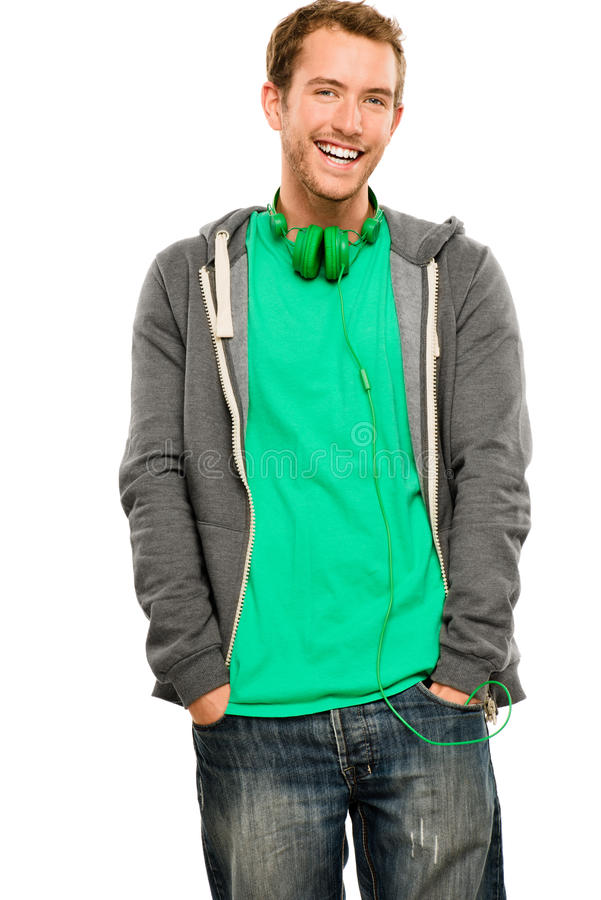 Download Attractive Young Man Wearing Hoodie Smiling Whit Background Port Stock Photo - Image of headphones, excited: 31655444