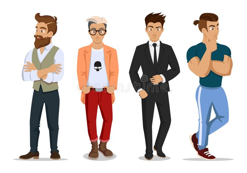 Attractive young mans in fashionable clothes. Young hipsters, businessman and sportsman . Cute cartoon mans. Successful stock illustration