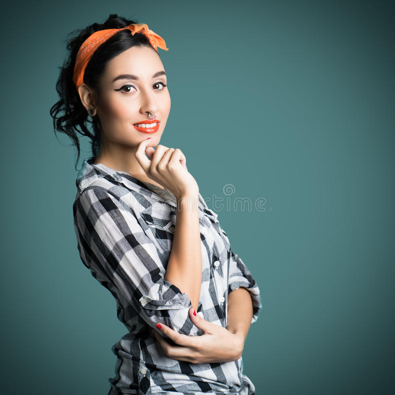 Attractive young pinup styled girl stock photos
