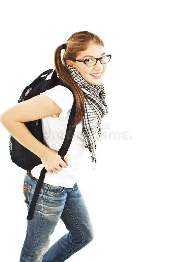 Attractive young student going to school college royalty free stock photos