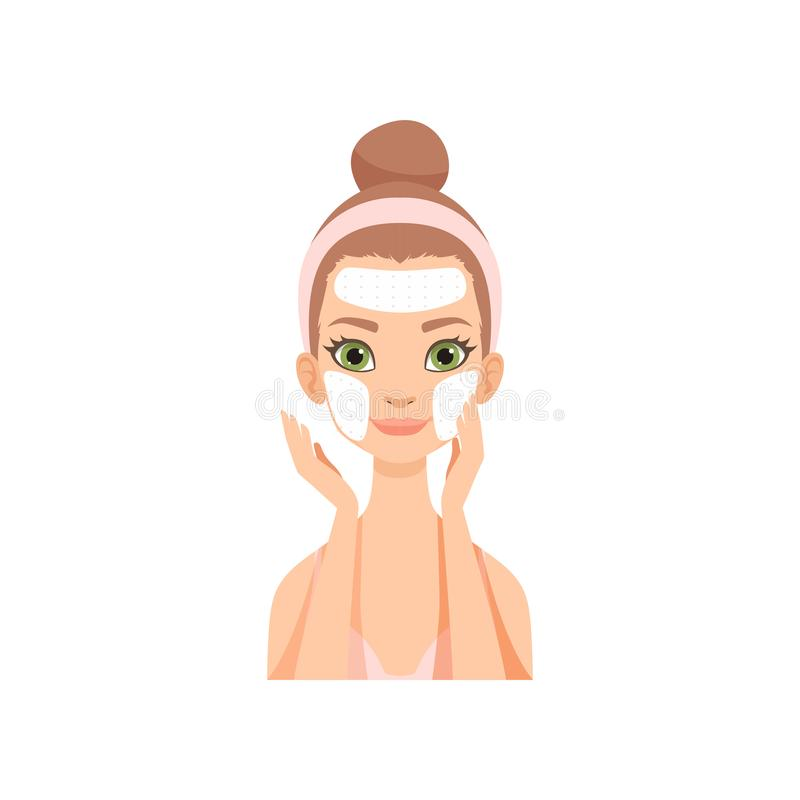Attractive young woman applying cleansing mask, girl caring for her face and skin, facial treatment procedure vector royalty free illustration