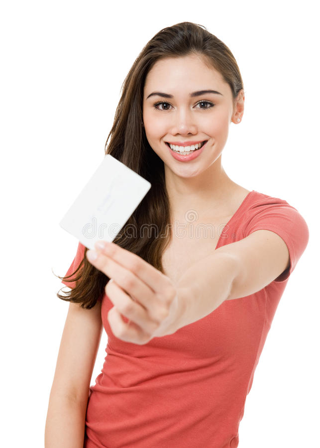 Download Attractive Young Woman With Blank Credit Card Stock Image - Image of attractive, happiness: 23445225