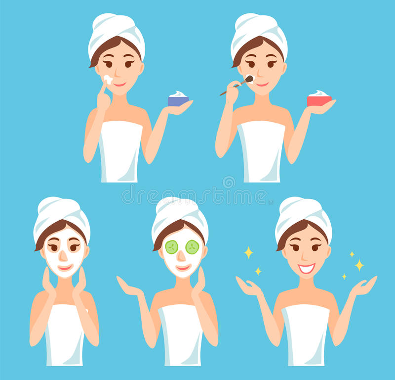 Attractive young woman care face and skin, using cream and applying natural mask. Facial treatment procedures. royalty free illustration