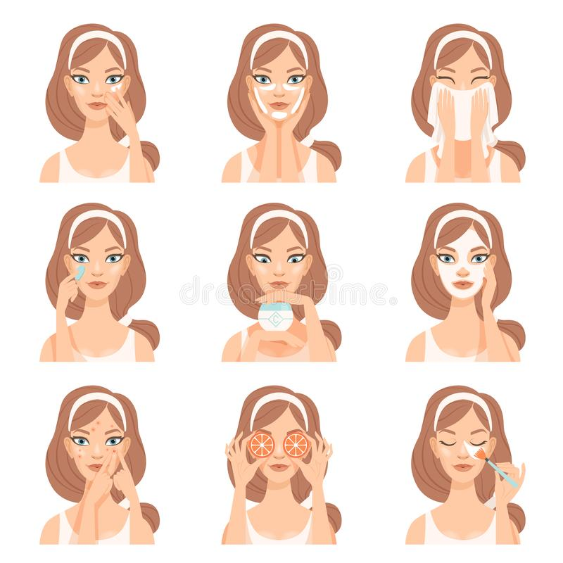 Attractive young woman caring for her face with cosmetics, beauty routine steps, facial treatment procedures vector. Illustration isolated on a white background stock illustration