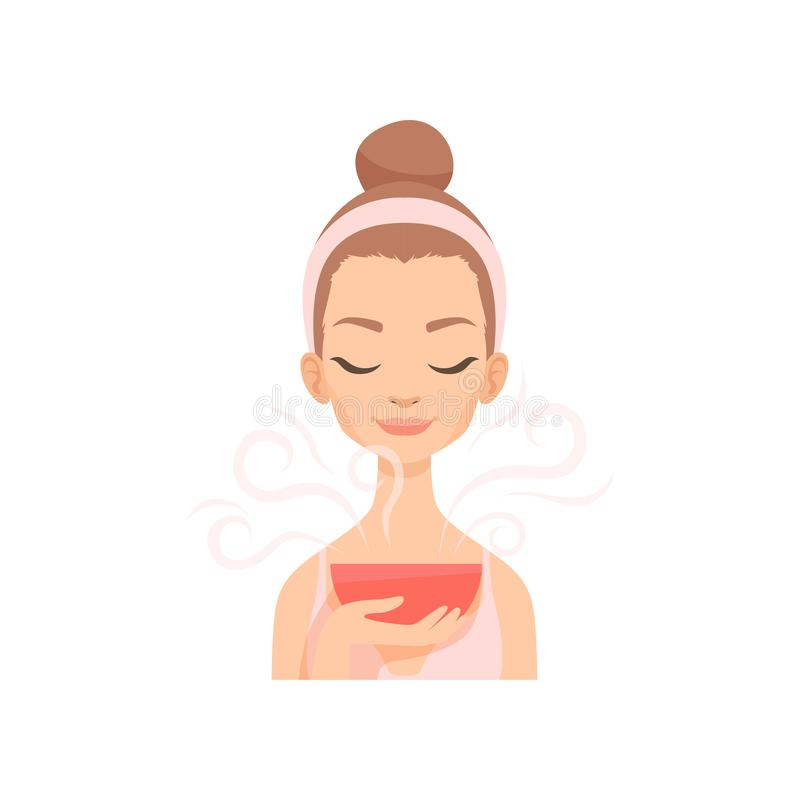 Attractive young woman caring for her face with steam, facial treatment procedure vector Illustration. Isolated on a white background stock illustration