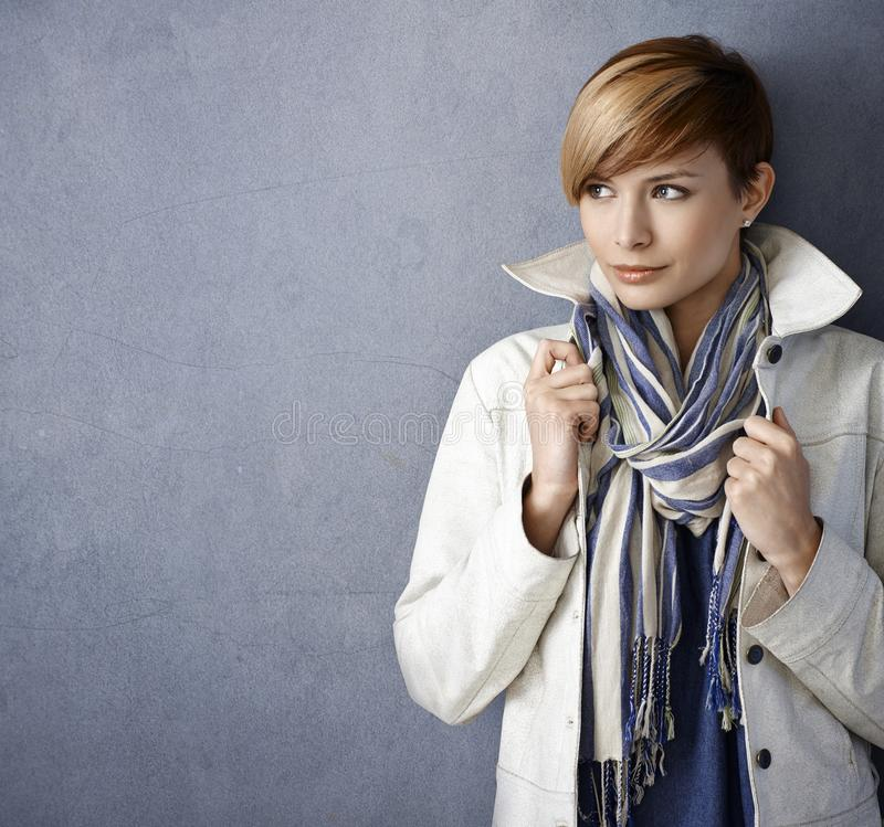 Attractive young woman in casual clothes royalty free stock images