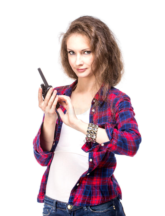 Download Attractive Young Woman In A Checkered Shirt With Walkie Talkie, Stock Image - Image: 34197705