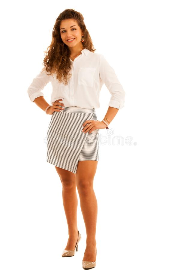 attractive young woman with curly brown hair full length portrait studio isolated over white royalty free stock photography
