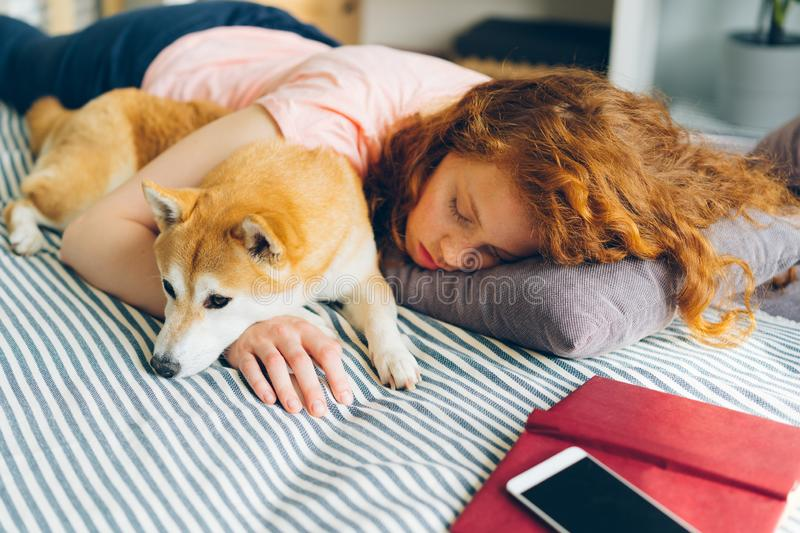 Attractive young woman and cute dog sleeping together at home on bed hugging stock photos
