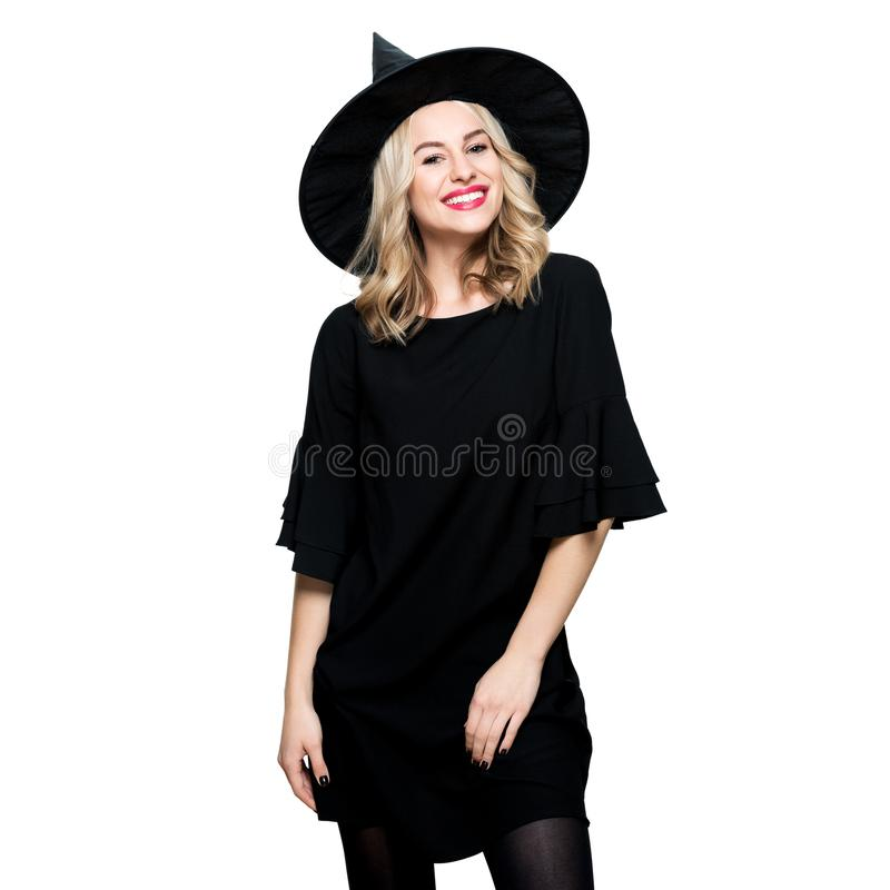 Free Attractive Young Woman Dressed In Witch Halloween Costume Isolated Over White Background. Sensual Halloween Witch. Royalty Free Stock Photography - 159160707
