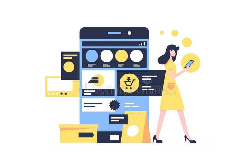 Attractive young woman engaged in online shopping using website. vector illustration