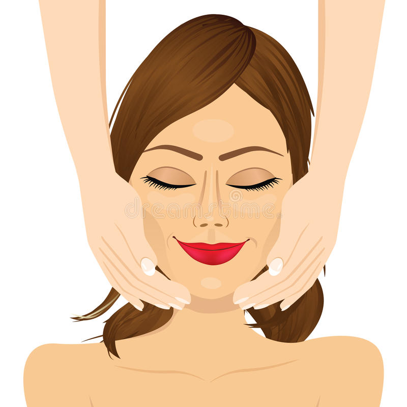 Attractive young woman enjoying facial massage beauty therapy. Portrait of attractive young woman enjoying facial massage beauty therapy royalty free illustration