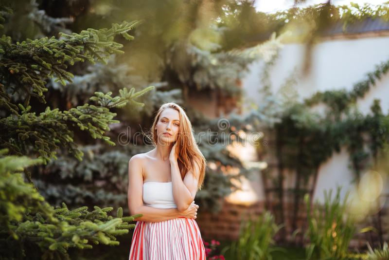 Attractive young woman enjoying her time royalty free stock photos