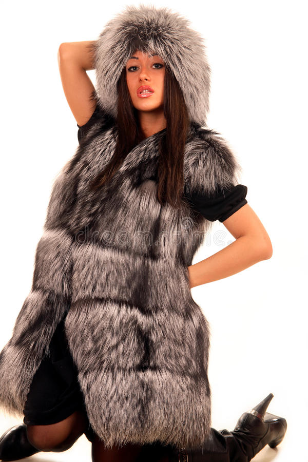 Download Attractive Young Woman In Expensive Fur Coat Stock Image - Image: 12567667