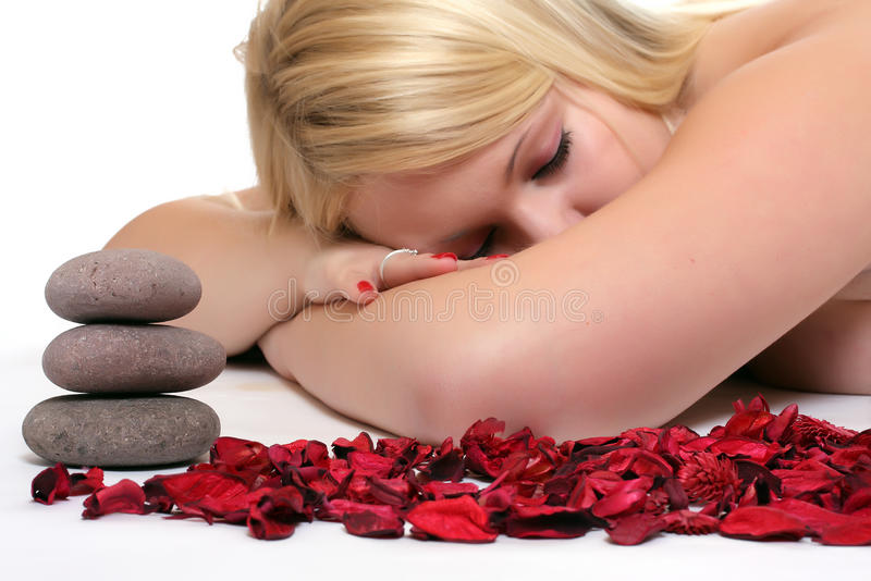 Attractive young woman getting spa treatment. royalty free stock photography