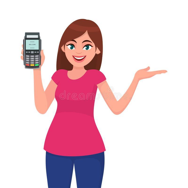 Attractive young woman/girl showing pos terminal or credit/debit cards swiping machine and gesture hand to copy space side away. vector illustration