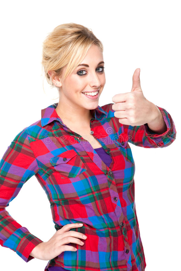 Download Attractive Young Woman Giving The Thumbs Up Sign Stock Image - Image: 17643767