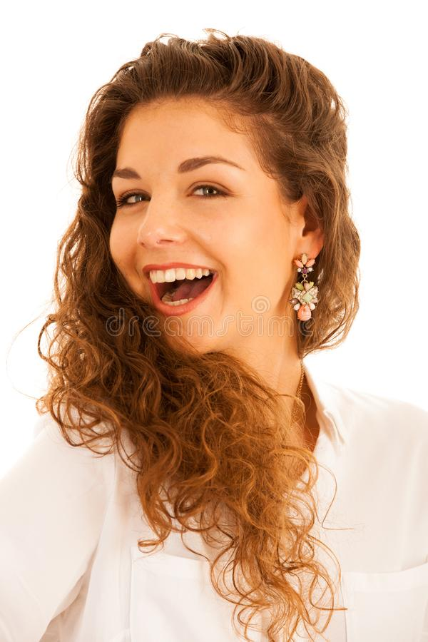 Attractive young woman with gorgeous smile isolated over white b stock photography
