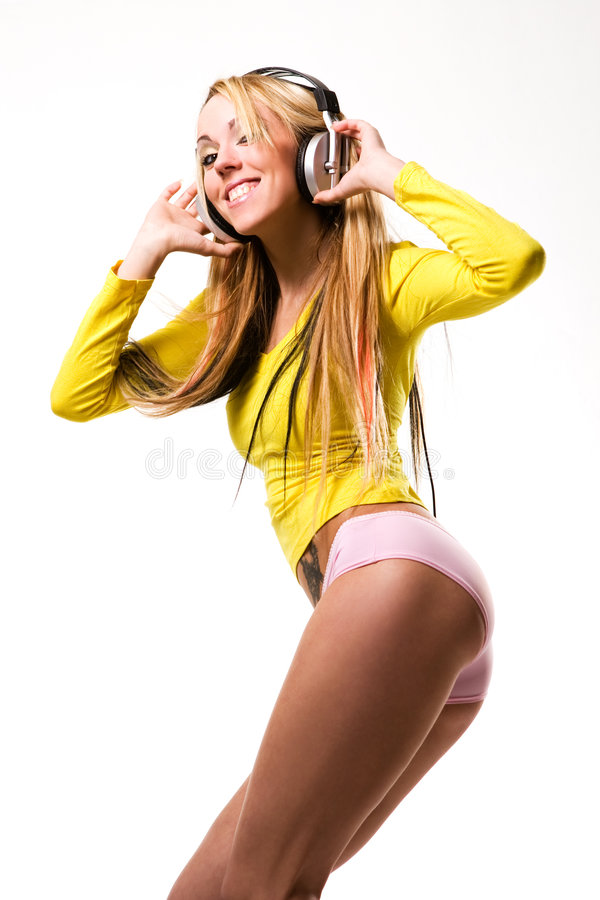 Download Attractive Young Woman With Headphones Over White Stock Photo - Image: 8683830
