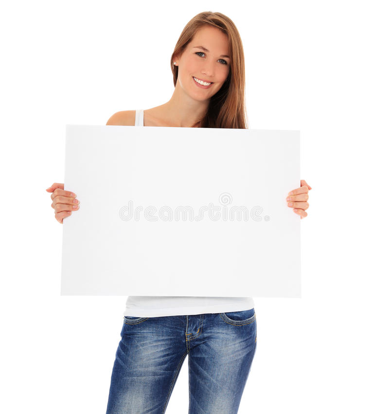 Attractive young woman holding bank sign royalty free stock photos