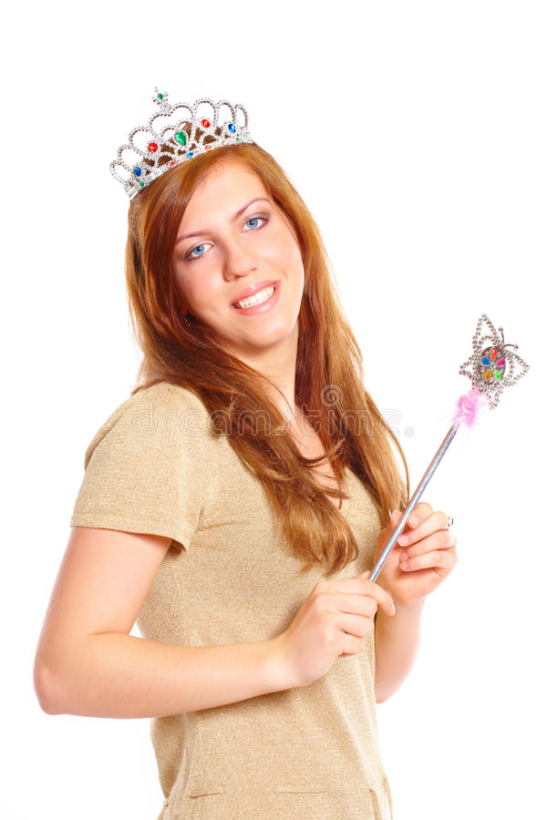 Download Attractive Young Woman Holding A Magic Wand Stock Photo - Image: 12970456