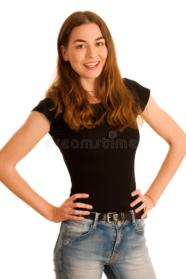 Attractive young woman in jeans and black t shirt isolated over royalty free stock images