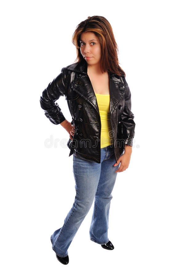Attractive young woman in a leather jacket stock photos