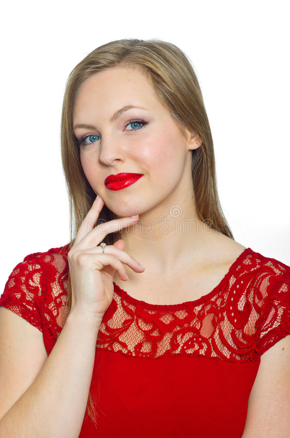 Attractive young woman making expression royalty free stock images