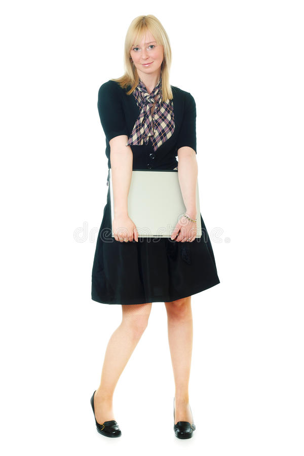 Attractive young woman with notebook royalty free stock images