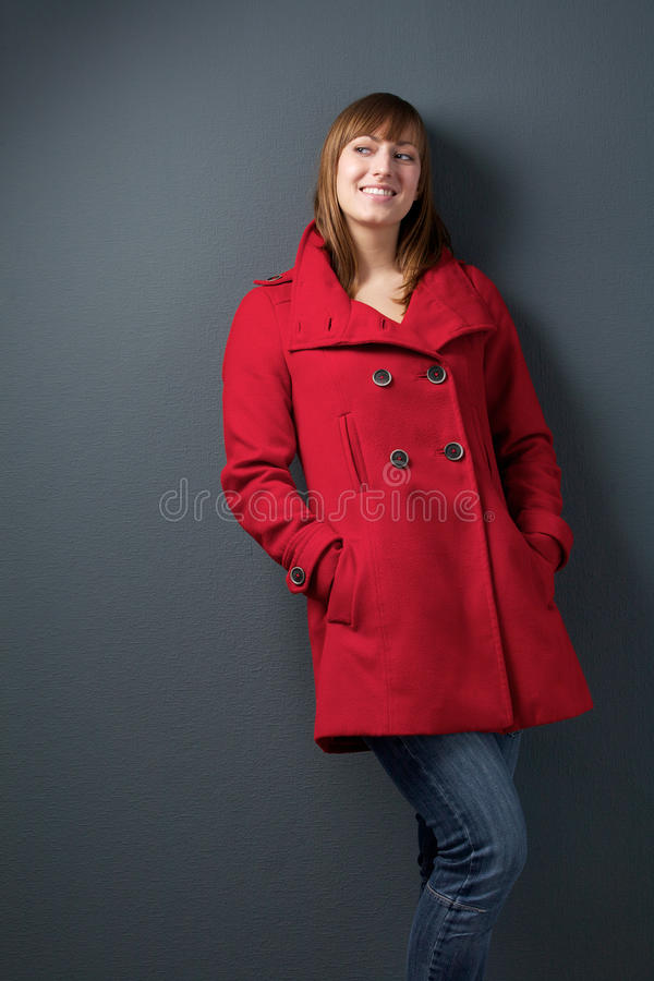 Download Attractive Young Woman In Red Jacket Stock Photo - Image: 33413312