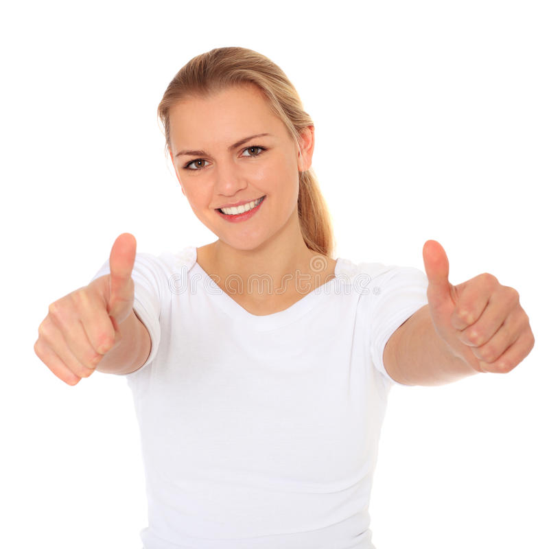 Download Attractive Young Woman Showing Thumbs Up Stock Photo - Image: 22112778