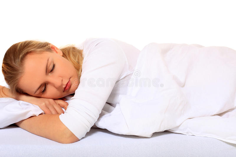 Download Attractive Young Woman Sleeping Bed Royalty Free Stock Image - Image: 17647676
