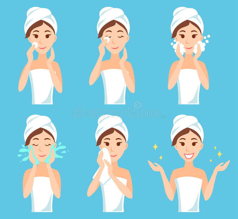 Attractive young woman with a towel around her head and body remove make-up, clean, wash and care her face with sponge. vector illustration