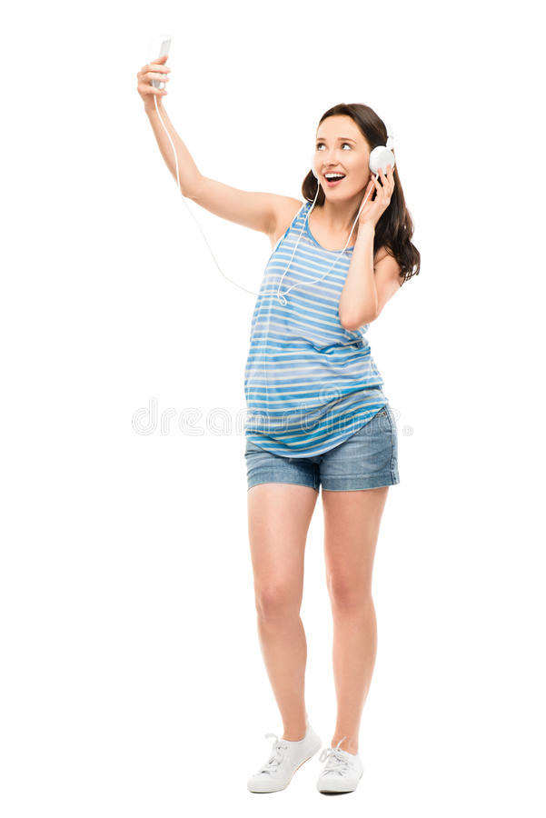 Attractive young woman video messaging isolated on white background stock images