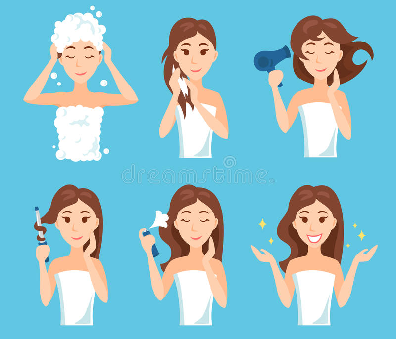 Attractive young woman wash, care and style her hair. stock illustration