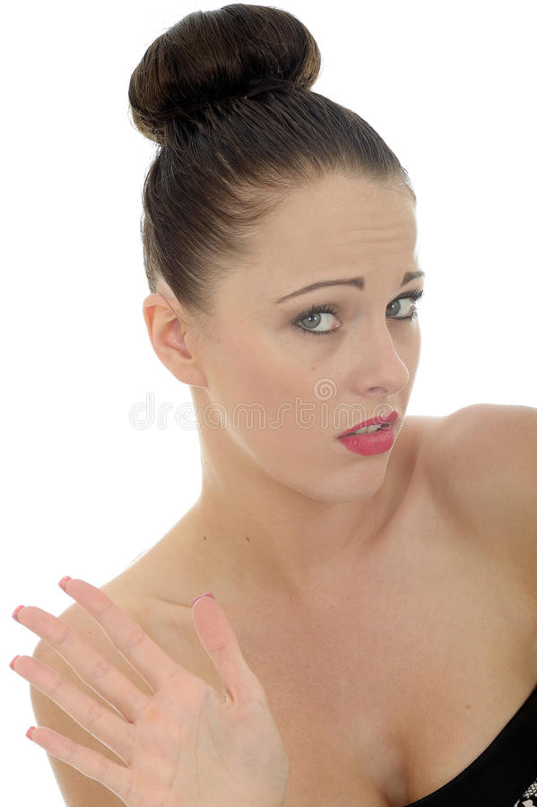 Free Attractive Young Woman Waving Away Someone In Bored Dispair And Royalty Free Stock Photos - 55513118